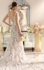 D1639DM Ivory Lace over Ivory Satin with Topaz Sash back