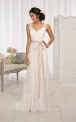 D1639DM Ivory Lace over Ivory Satin with Topaz Sash front