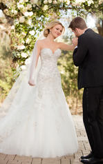 D2398 Ivory Silver Lace over Antique Ivory Gown front