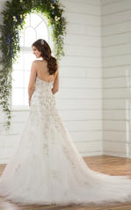 D2398 Ivory Silver Lace over Antique Ivory Gown back