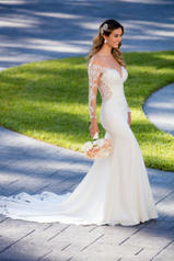 6607 Ivory Silver Lace On Ivory Crepe With Porcelain Tu front