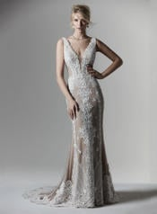 9SW910MC Ivory gown with Nude Illusion front