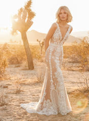 9SW910MC Ivory gown with Nude Illusion detail