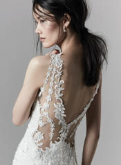 9SC814 Ivory over Light Champagne gown with Nude Illusion detail