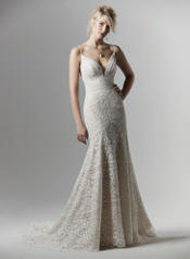 9SC878 Ivory over Antique Ivory gown with Nude Illusion front