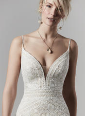 9SC878 Ivory over Antique Ivory gown with Nude Illusion detail