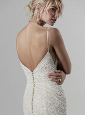 9SC878 Ivory over Antique Ivory gown with Nude Illusion back
