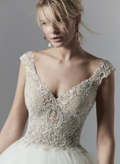 9SS883 Antique Ivory/Pewter Accent gown with Nude Illusio detail