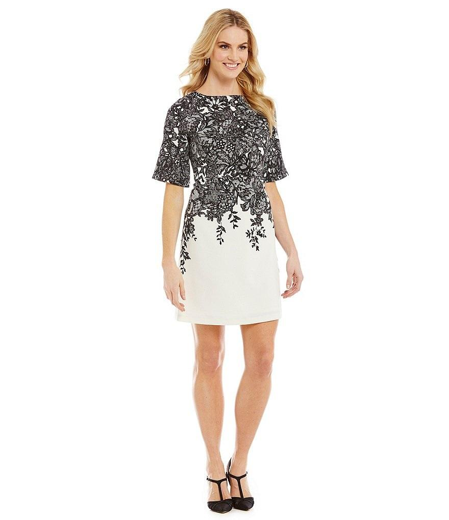 Black/Ivory Dress with Lace & Sleeves
