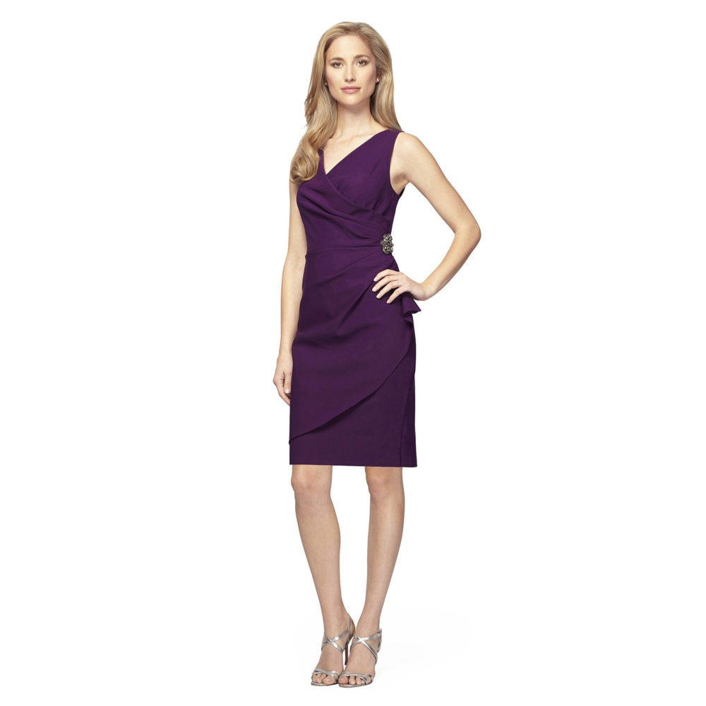 Luxe Collection  V-Neck Compression Dress with Ruched Waist