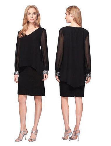 Luxe Collection - Plus Size Black Jersey & Chifonn long sleeved dress with beade