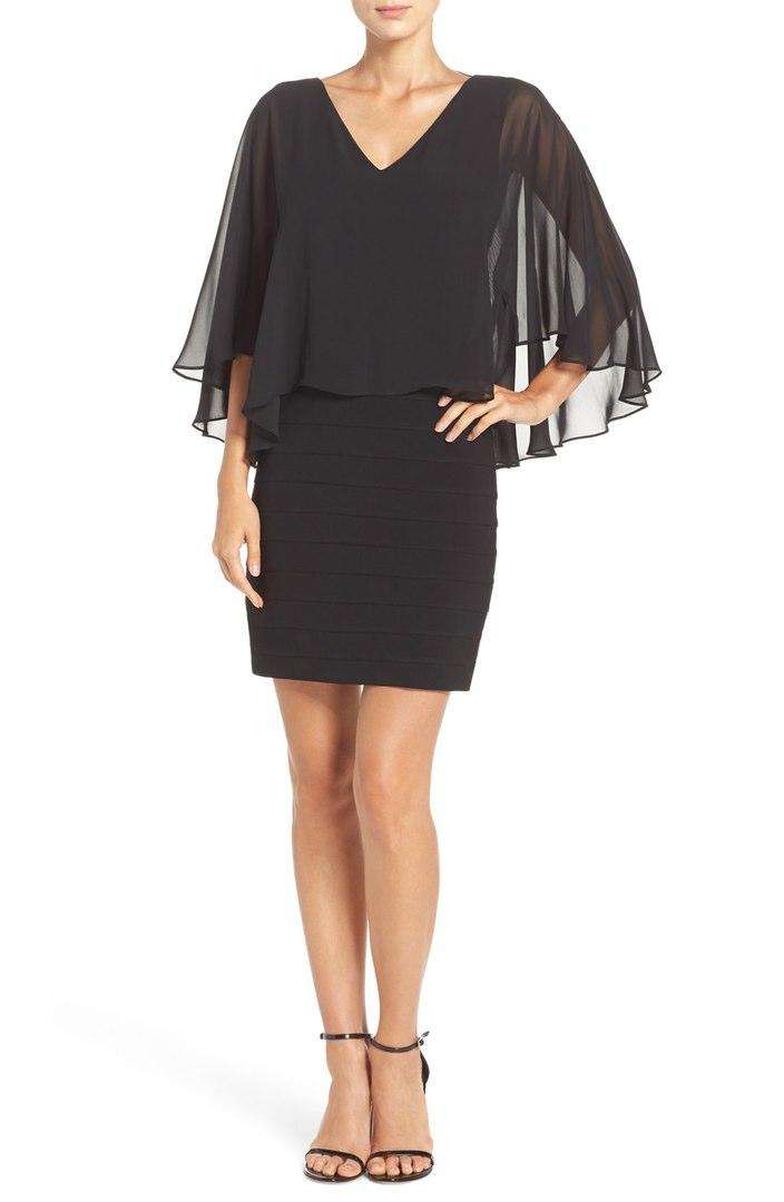 Luxe Collection Black Chiffon & Jersey Cocktail Dress