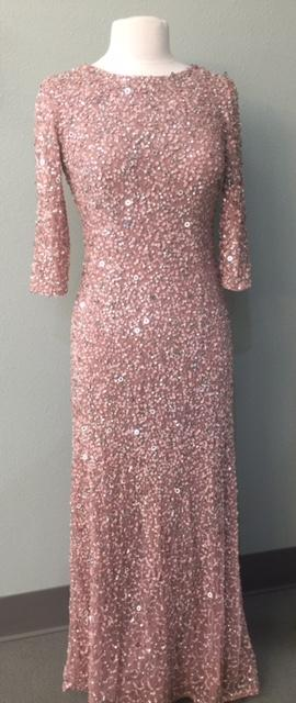Luxe Collection Stretch Sequinned 3/4 Sleeve Gown