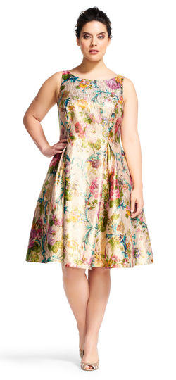 Luxe Collection Women\'s Plus Size Floral Tea Length Dress 54741E200394