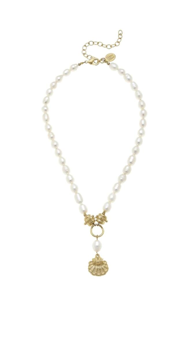 pearl and gold shell necklace