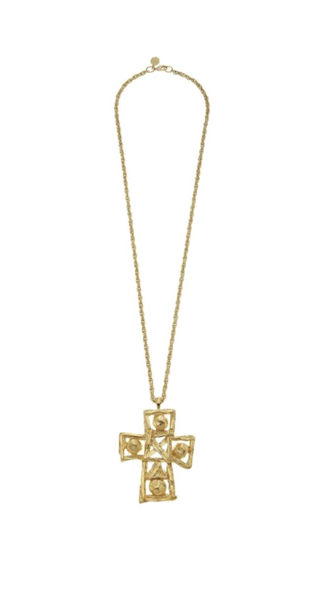 gold cross necklace long