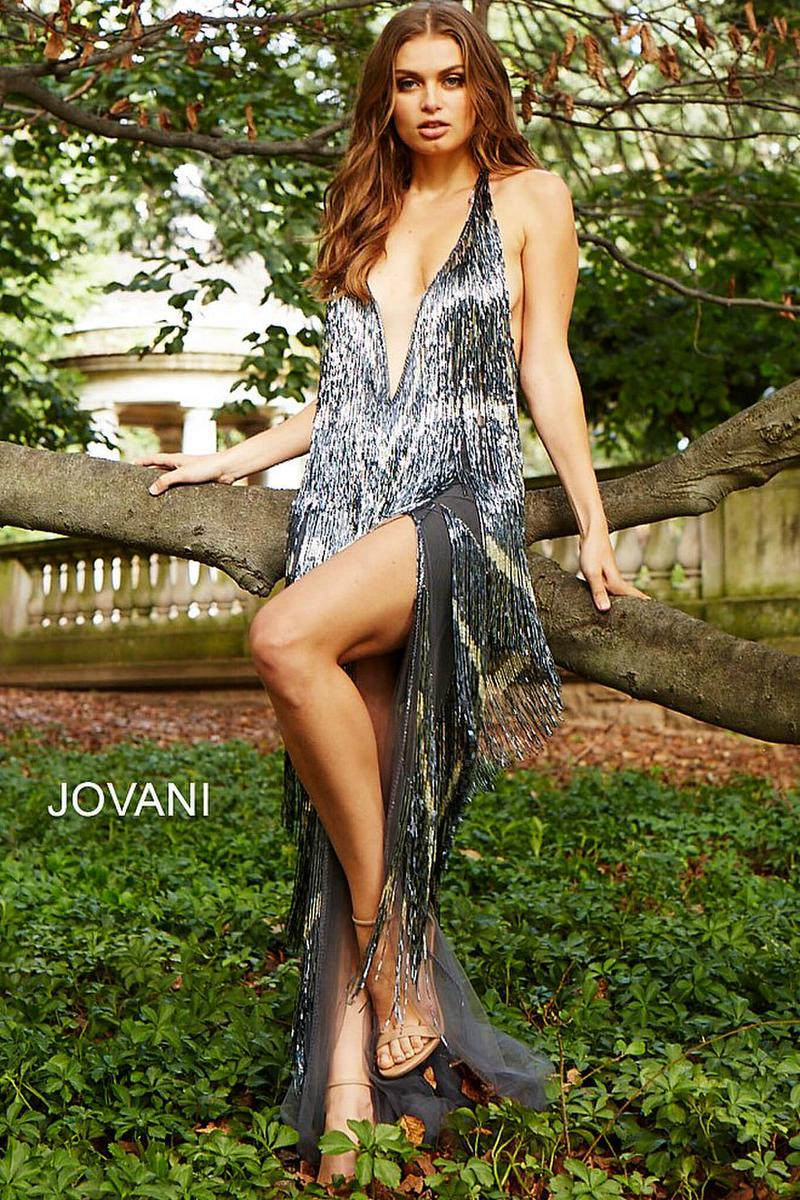 Jovani Beaded Fringe Prom Gown