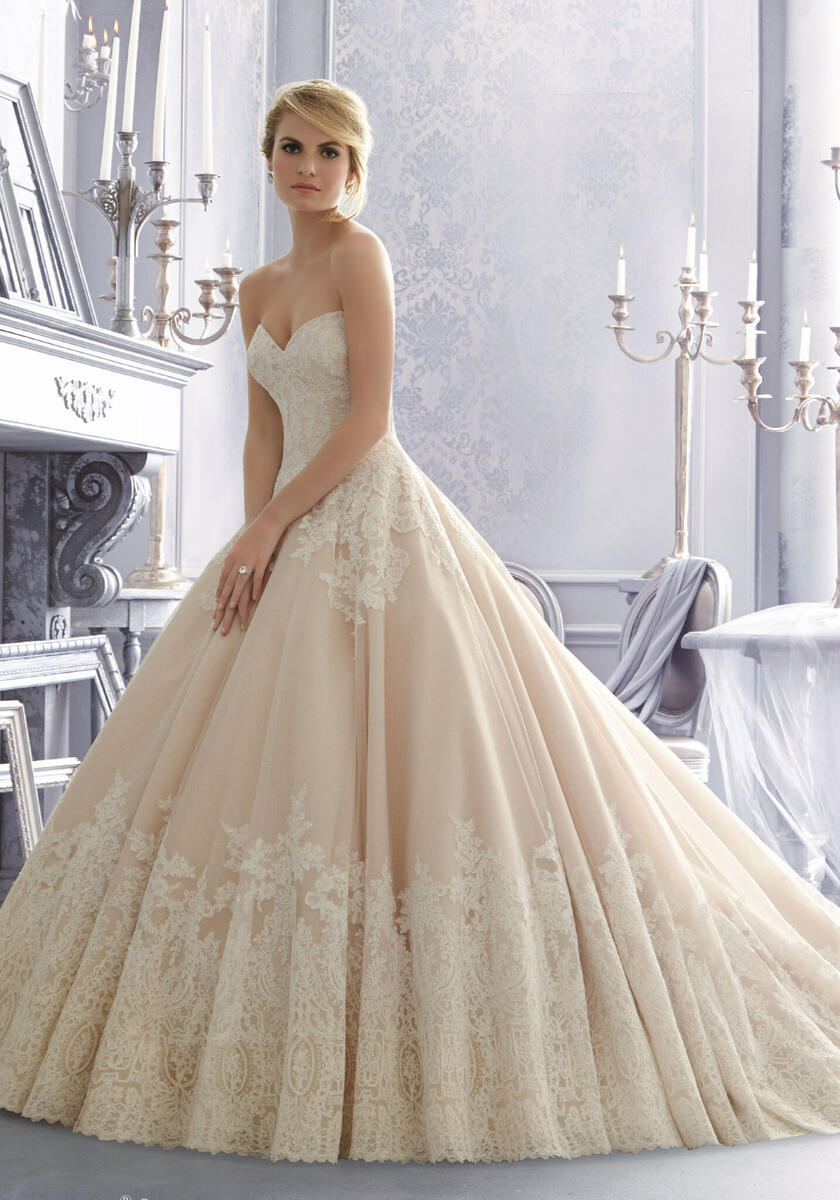 Morilee Classic Bridal Gown of 1588Alençon Lace on Tulle with Intricate Hemline