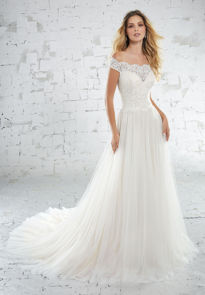 Morilee Bridal Gown, Ivory/LtGold Lace with Tulle