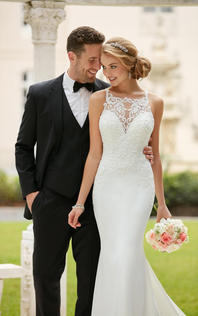 HIGH NECK SHEATH WEDDING DRESS