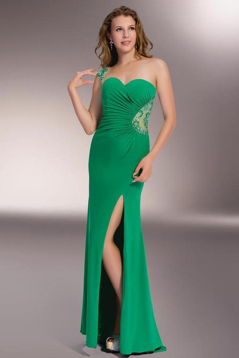 This delightful evening gown showcases a one shoulder with sweetheart neckline.