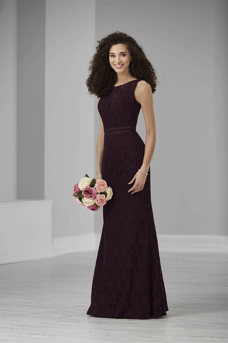 This all over lace gown features an illusion neckline and deep V back. The waist