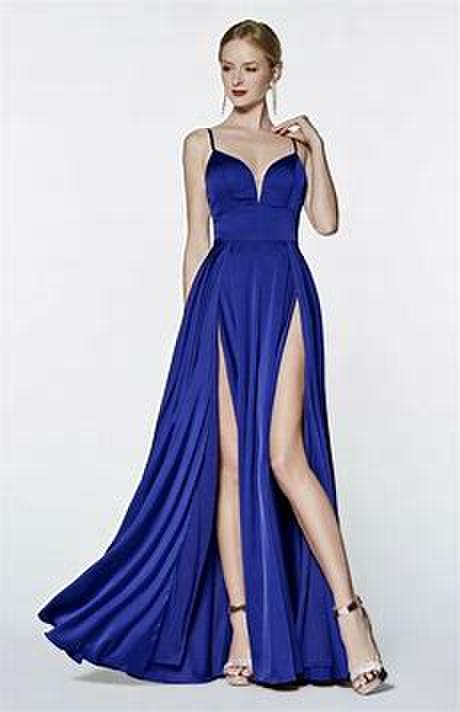 A-line satin gown with double slit and deep sweetheart.