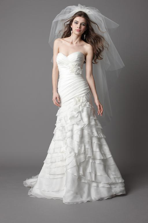 Watters Ivory soft organza strapless gown with pleated bodice 15558