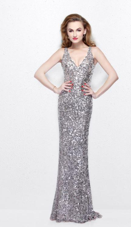 Primavera Long Sequined Gown With Cross Back