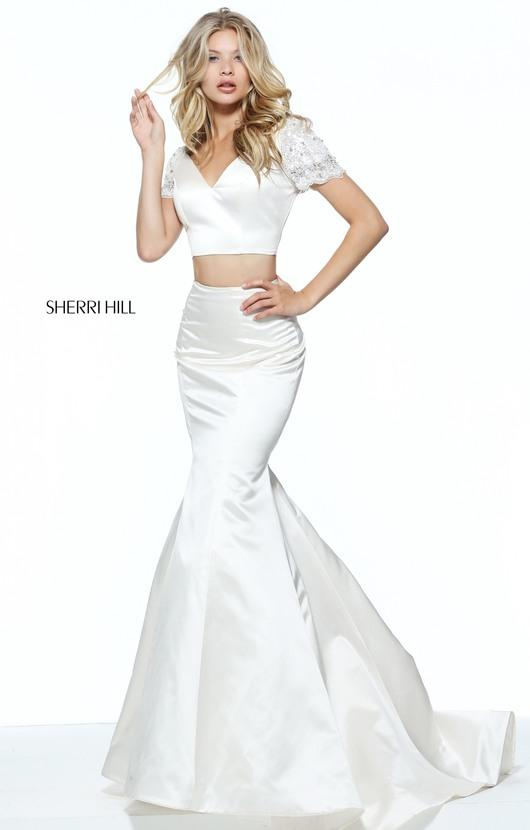 Sherri Hill Beaded Cap Sleeve Two-Piece