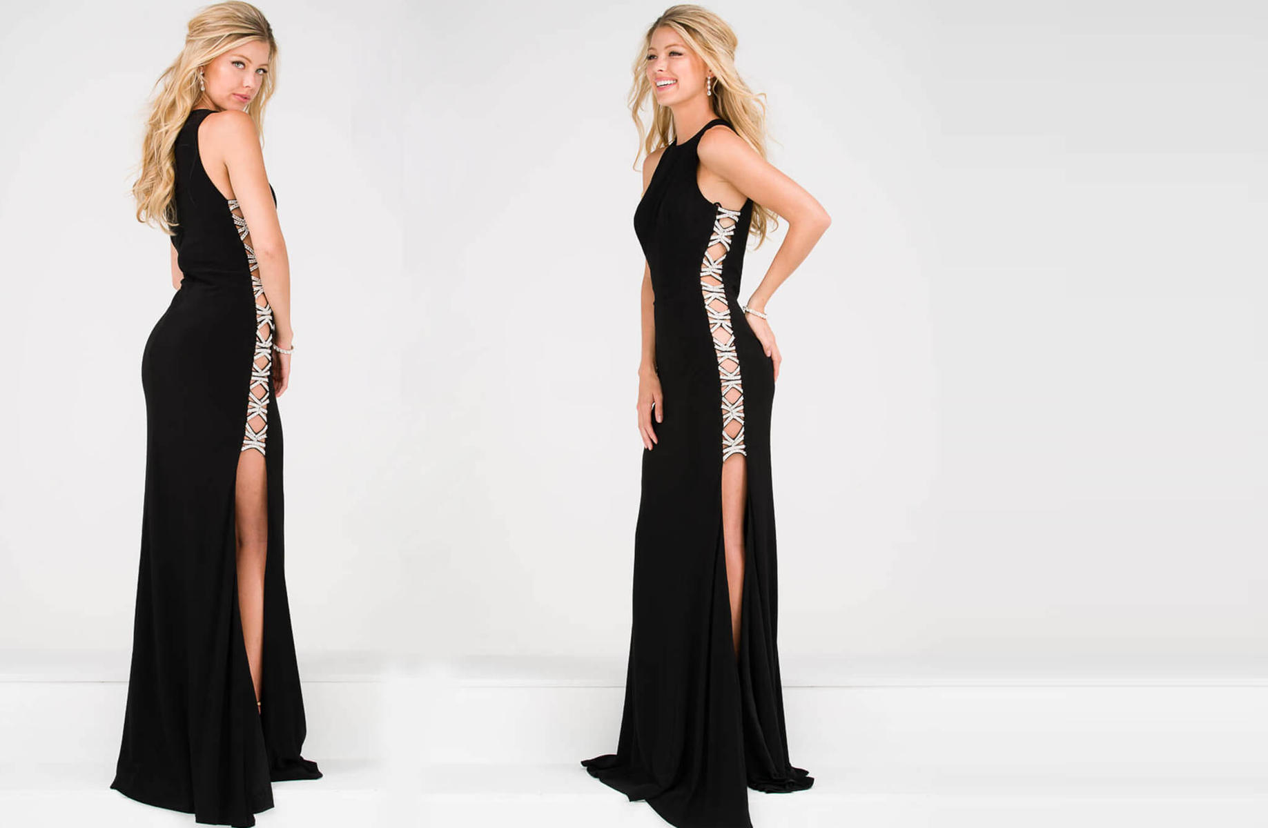 Jovani Open Side Stone X Pattern