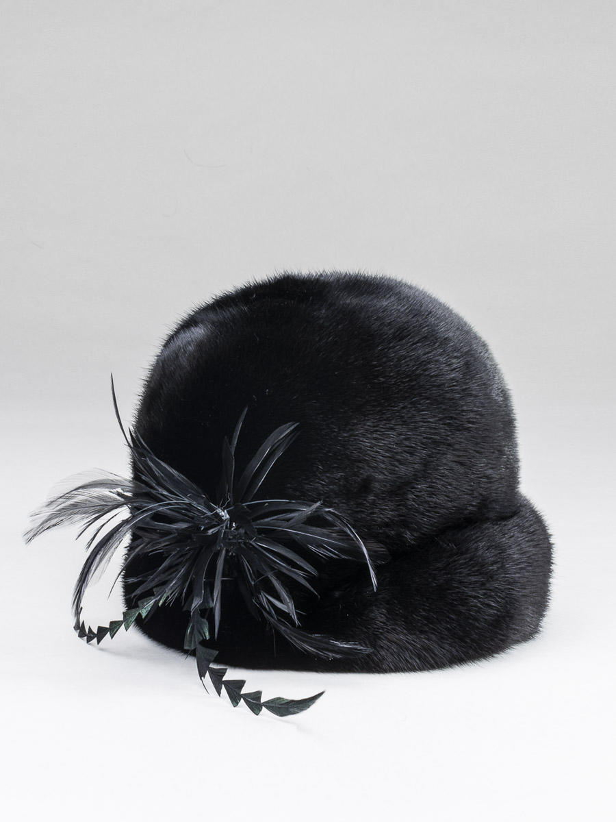 Mink Hat w/ Feathers
