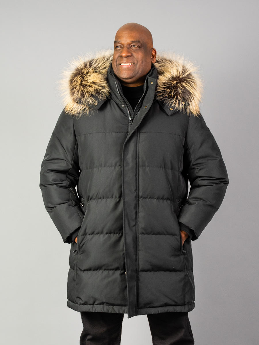 Mens Down Jackets with Fur trim on hood 14553