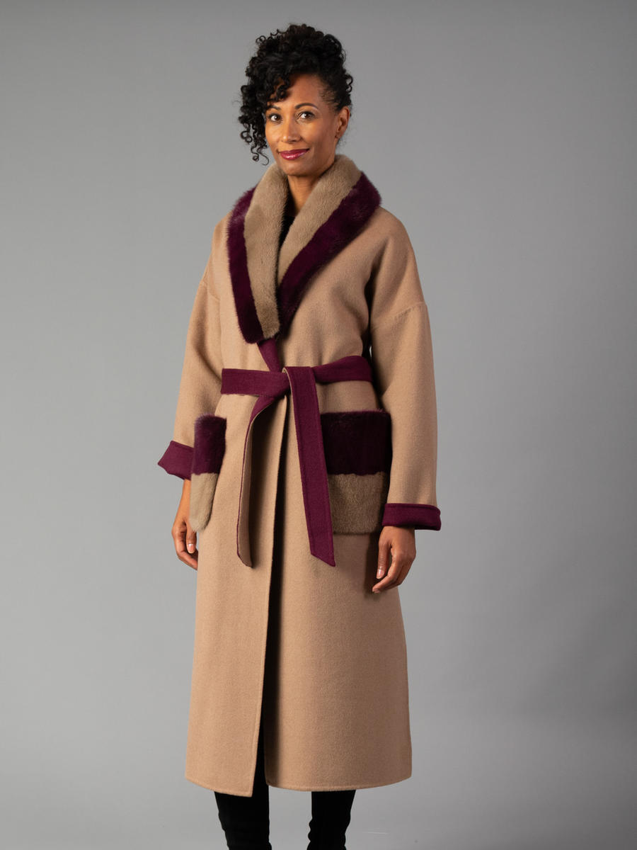 Cashmere Reversible Coat with Mink Trim