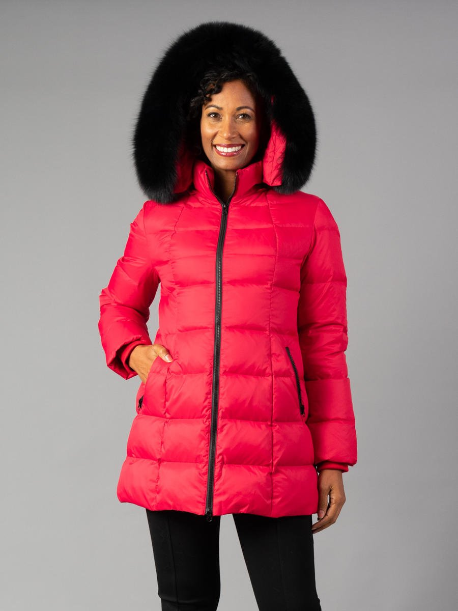 Ladies Down Jacket with Fox trim on hood
