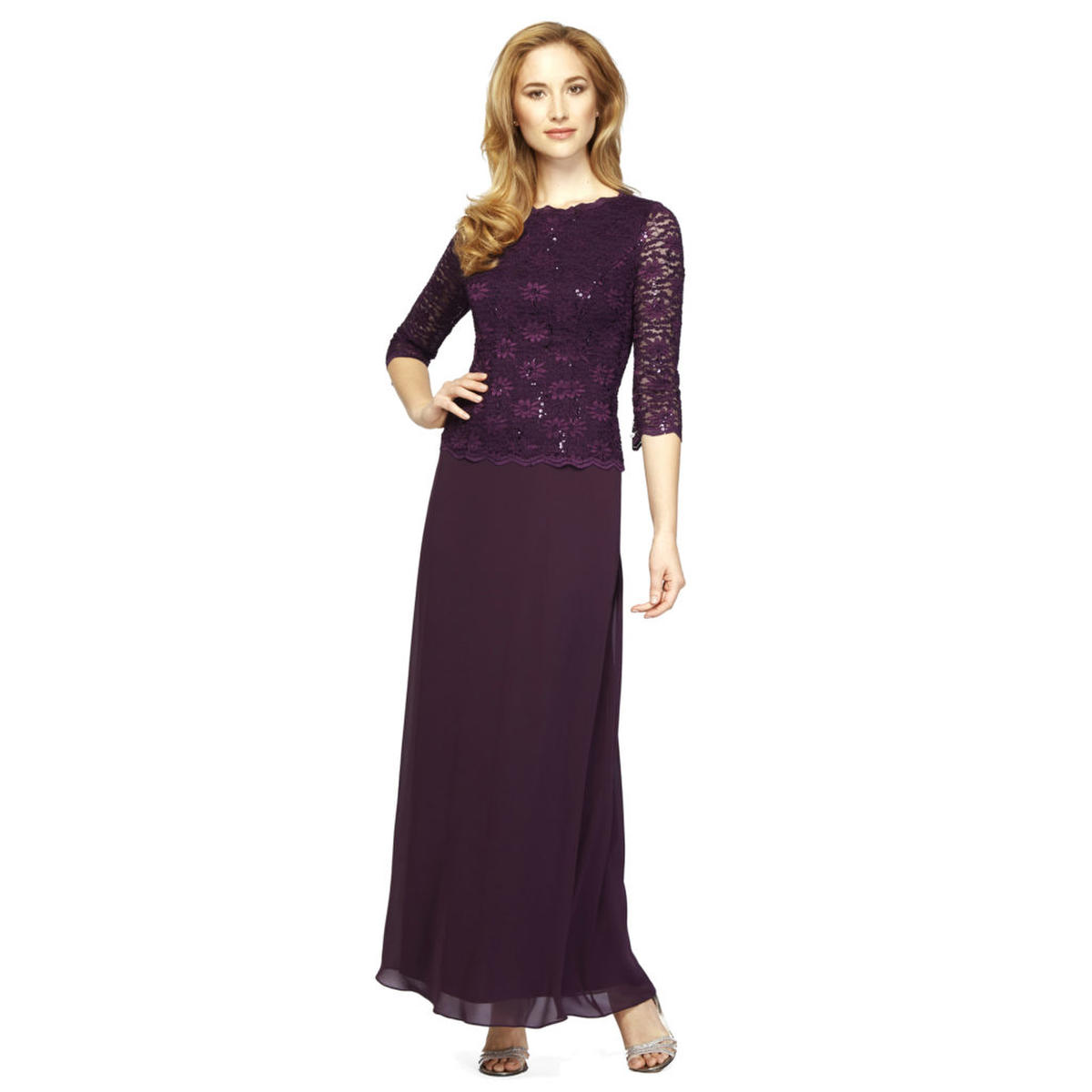 ALEX APPAREL GROUP INC - 3/4 Sleeve Lace Mock Top & Chiffon Gown