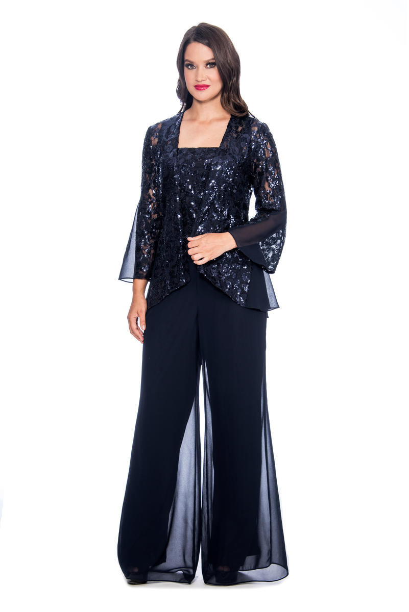 Three Piece Chiffon Pant Sequin Jacket