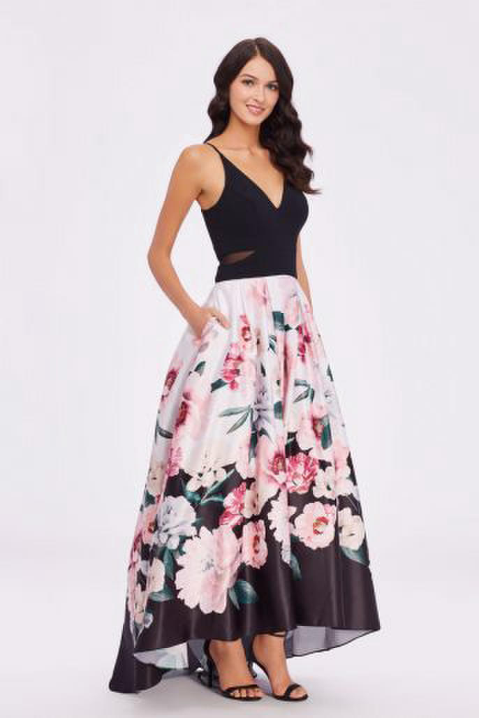 Satin Print HiLow Gown Sheer Waist