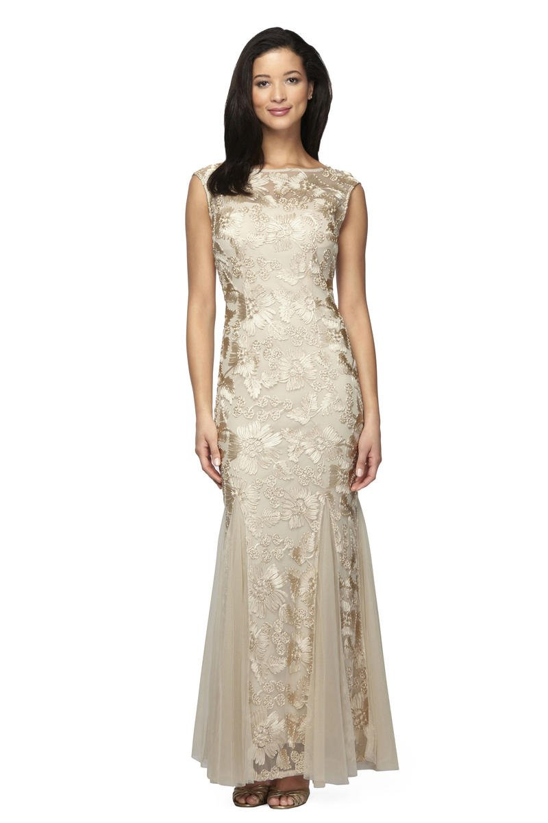 ALEX APPAREL GROUP INC - Floral Embroidered High Neck Gown