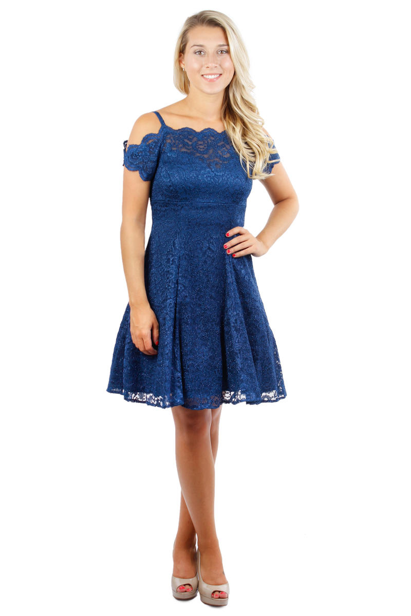NIGHTWAY - Petite Off-The-Shoulder Lace Dress