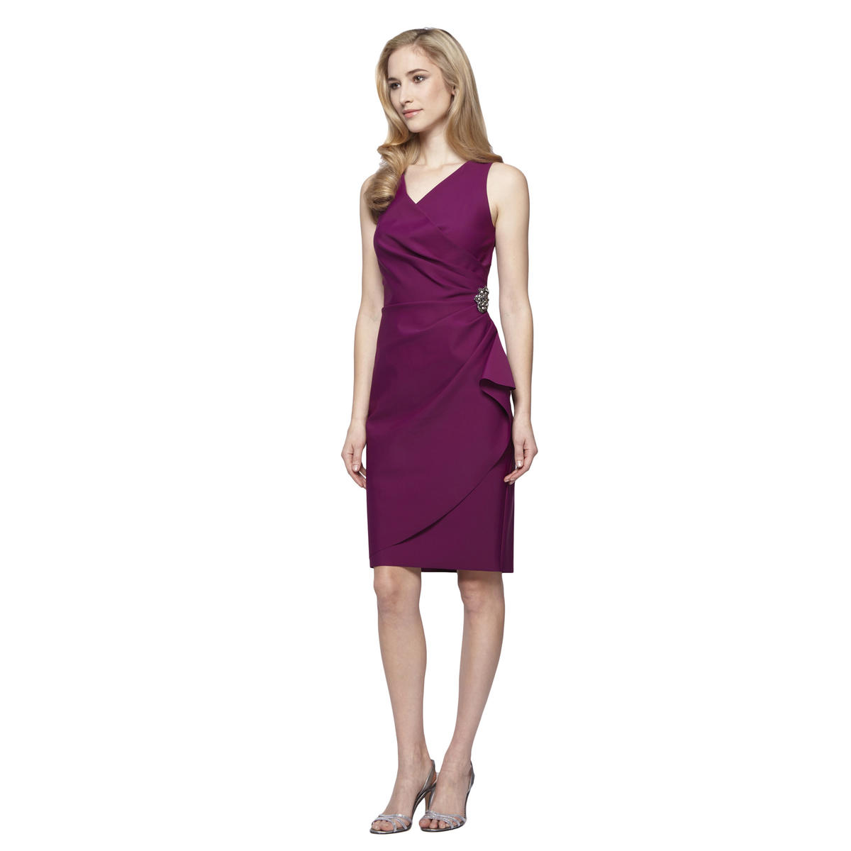 ALEX APPAREL GROUP INC - Sleeveless Ruched V-Neck Wrap Dress