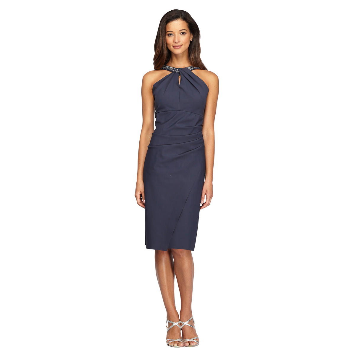 ALEX APPAREL GROUP INC - Beaded Halter Neck Cocktail Dress