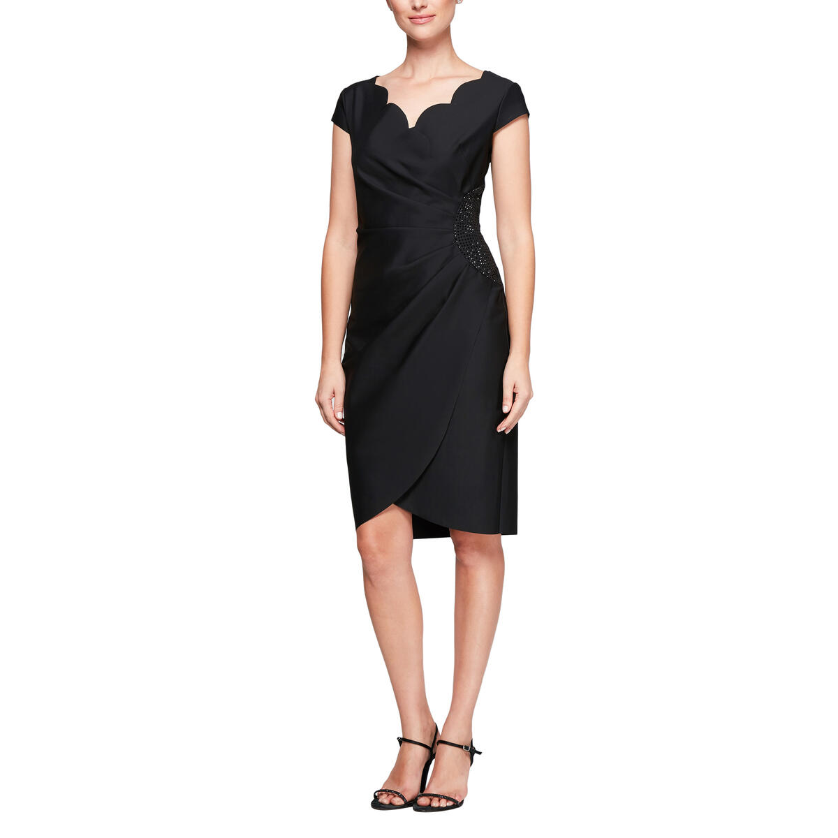 ALEX APPAREL GROUP INC - Scalloped Cap Sleeve Cocktail Dress