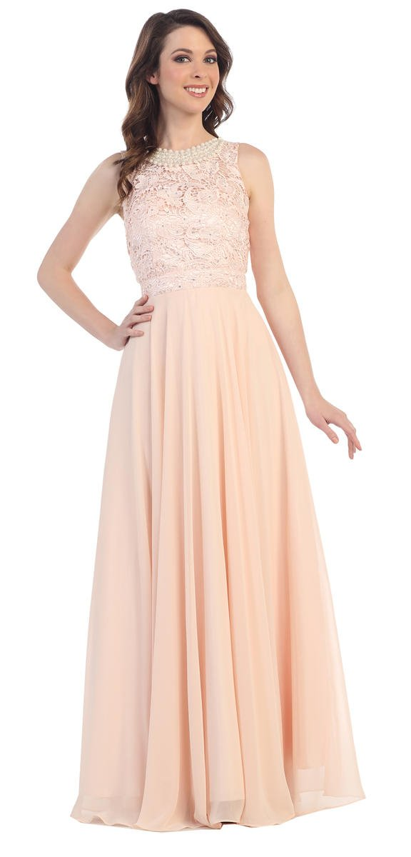 CINDY COLLECTION USA - Sleeveless Lace & Chiffon A-Line Gown