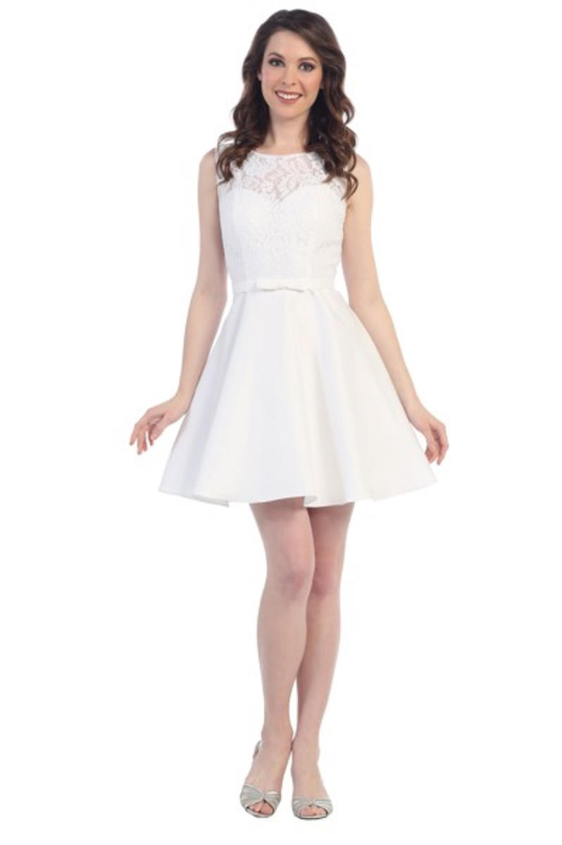 CINDY COLLECTION USA - Short Satin & Lace Fit & Flare Dress