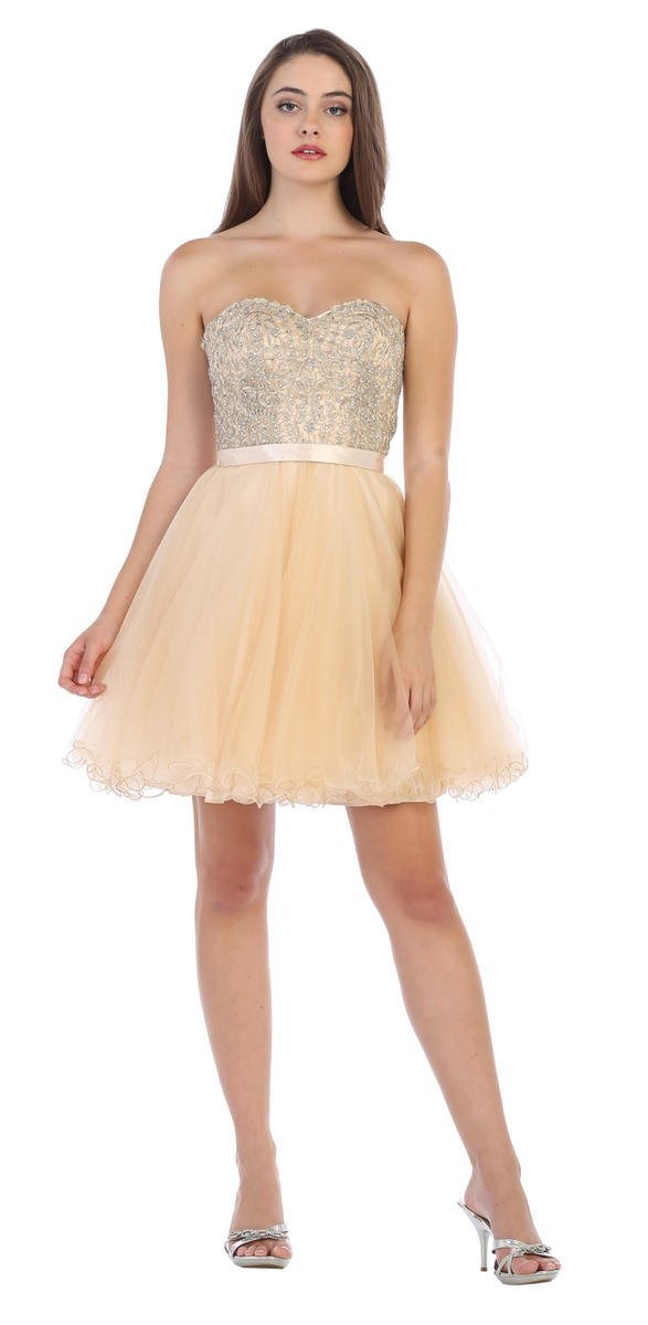 CINDY COLLECTION USA - Strapless Tulle & Lace Fit & Flare Dress