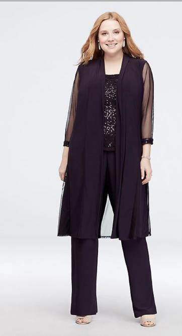 Three Piece Pant Suit Sequence Top