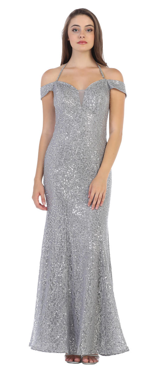 Sequin Lace Sheath Gown