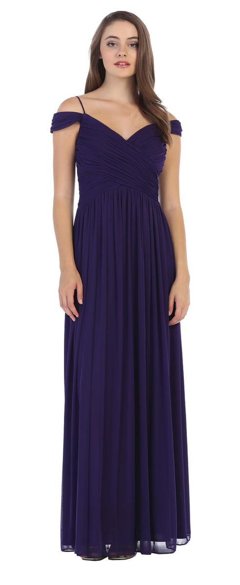 CINDY COLLECTION USA - Pleated Chiffon Cold Shoulder Gown