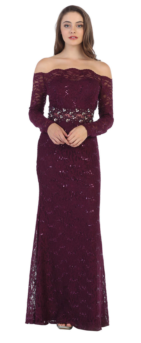 Sequin Lace 3/4 Sleeve Beaded Waist Gown